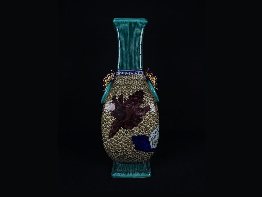 二代徳田八十吉「吉田屋写花瓶」