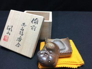 【香合】鷹取閑山 お多福香合を買取り致しました。