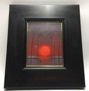 【油彩画(日本)】斉藤真一 紅い陽の雪原冬の旅を買取り致しました。