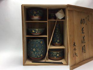 【茶道具・その他】唐草文様の青粒茶器揃 皆具を買取り致しました。