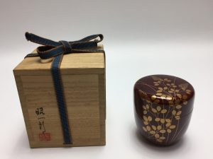 【棗】田崎昭一郎 朱塗稲穂絵の棗を買取り致しました。