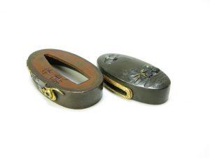 【刀装具】土屋安親 赤銅金象嵌扇に鼠図縁頭を買取り致しました。