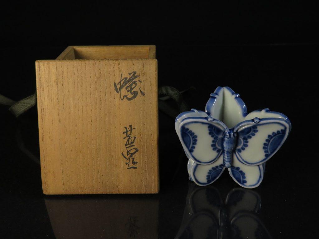 【蓋置】九谷清々軒 矢口永寿「蝶蓋置」を買取り致しました。