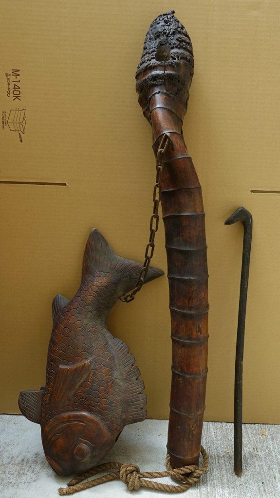 木彫自在鉤 横木鯉