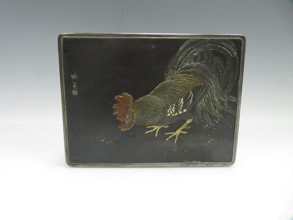 純銀製 鵜彫金小箱