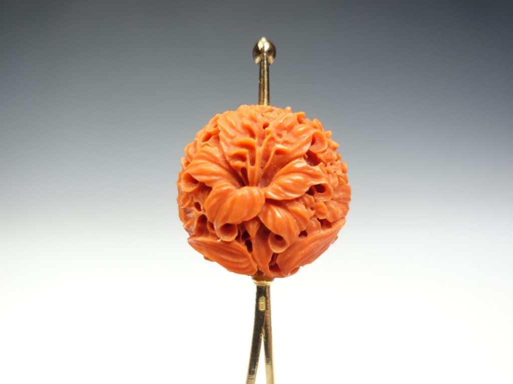 【簪・笄】「赤珊瑚花々彫簪」 18k刻印有を買取り致しました。