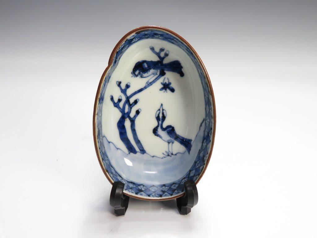 【中国磁器】道光年製「染付花鳥絵扁形向付」を買取り致しました。