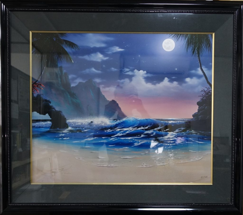 【版画 その他技法】ジョン・アル・ホーグ 「ムーンオーバーハワイ」 ※シバクロームを買取り致しました。