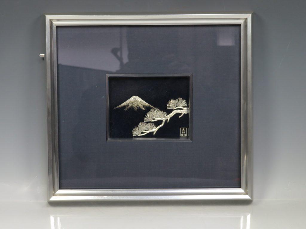 彫金額 純銀 『松に富士』