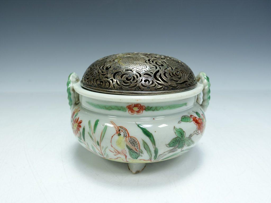 茶器「南京赤繪火屋龍彫香炉」