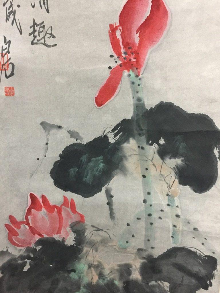 中国軸 斉白石 「花鳥図」