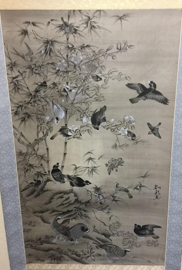 中国軸【四季花鳥群図】