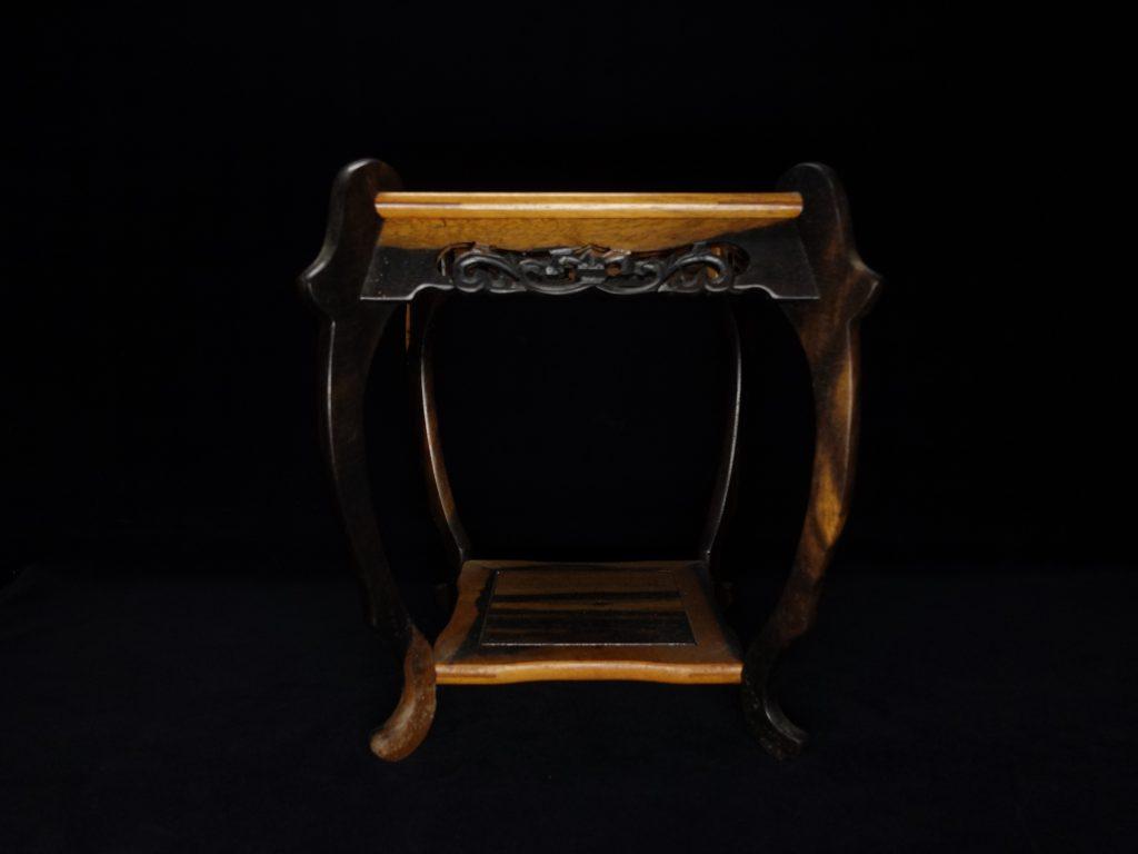 木製彫香炉台【黒柿香炉台】