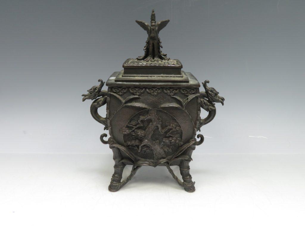 【銅製品】喜多万右衛門「鳳凰龍双耳香炉」を買取り致しました。