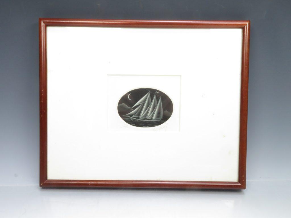 【版画 その他技法】梅木英治 銅版画 ヨットⅥを買取り致しました。