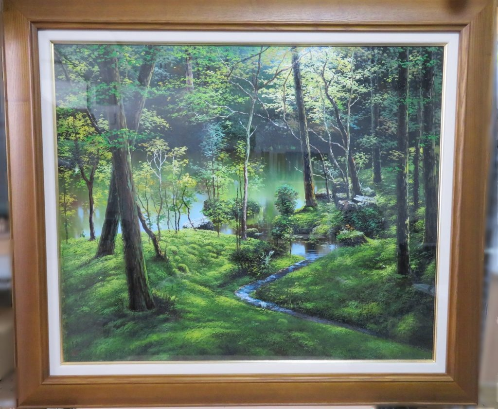 【絵画・油彩画】石原 綾 『京都 苔寺』 油彩F20号を買取り致しました。