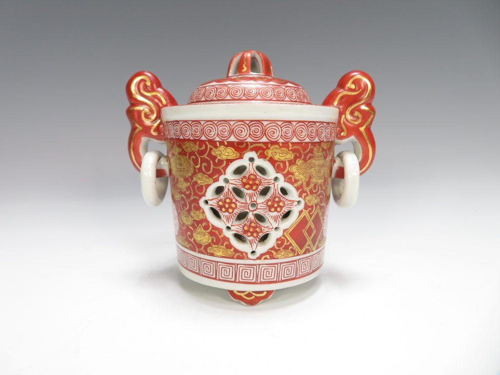 【作家物 磁器】九谷 峯久  金彩赤絵双耳透香炉を買取り致しました。