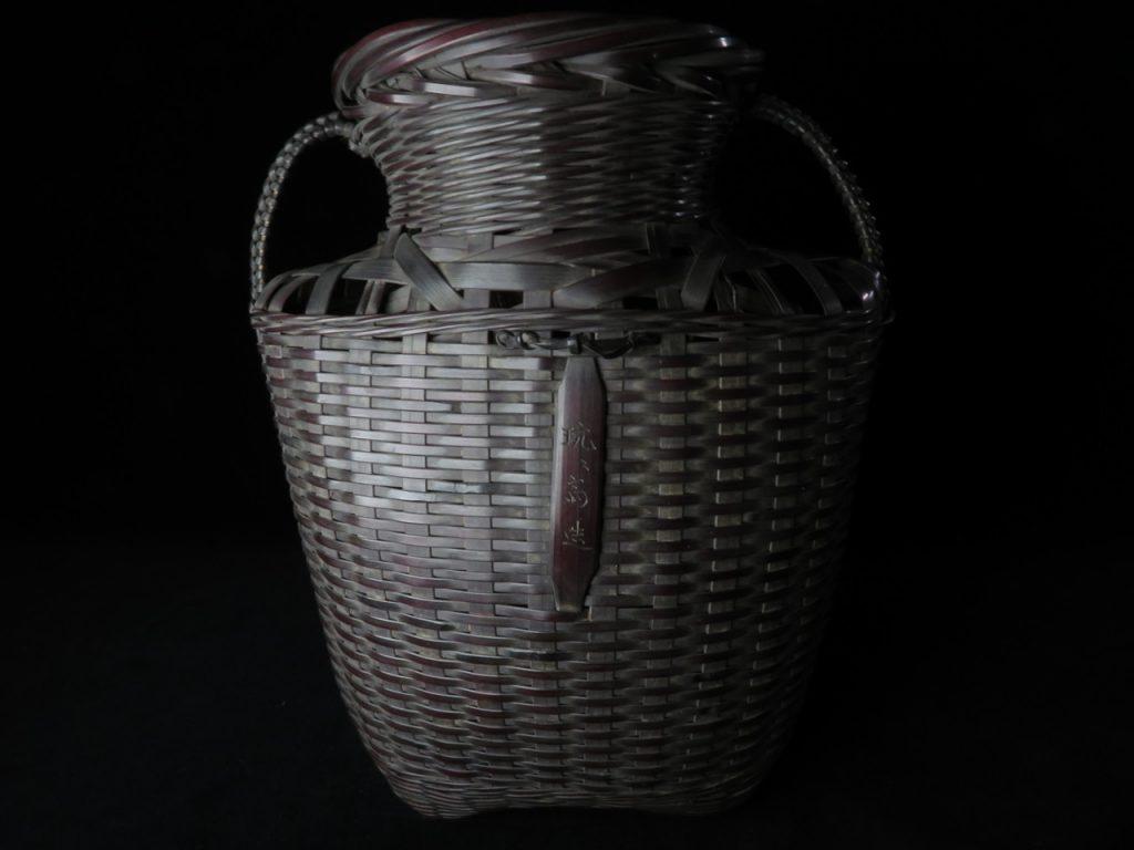 【骨董品・竹製品】鈴木玩々斎 唐物写扇張耳付 懸花籃を買取致しました。
