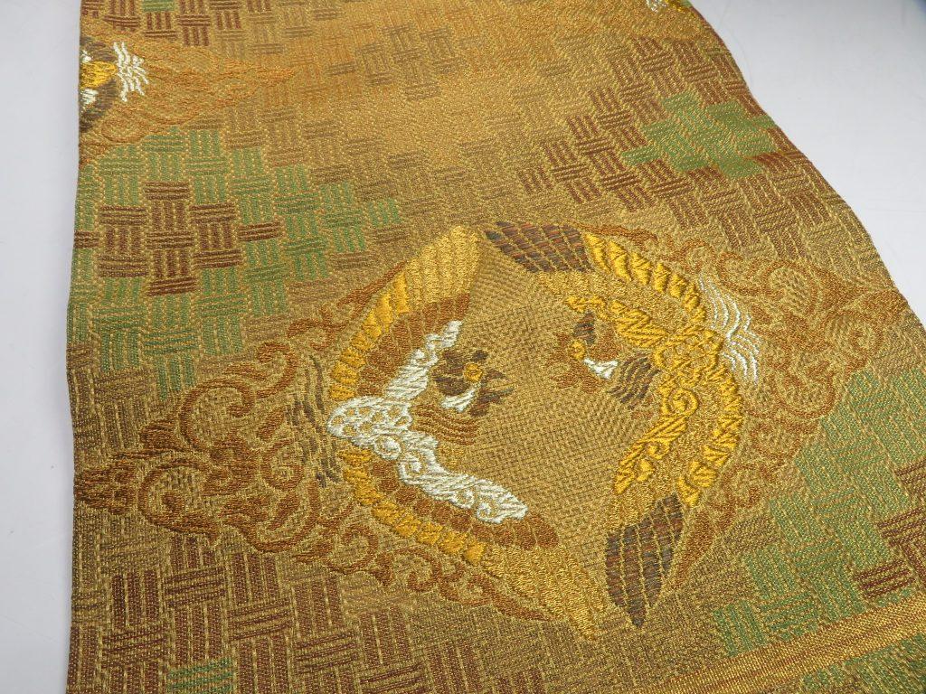 【帯】 平織向い鶴文本袋帯を買取り致しました。