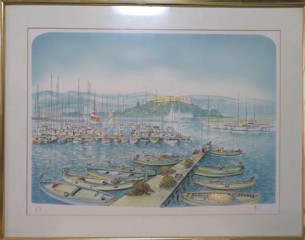 【絵画・版画】ロルフ・ラフルスキー 「ヨットの桟橋」を買取致しました。