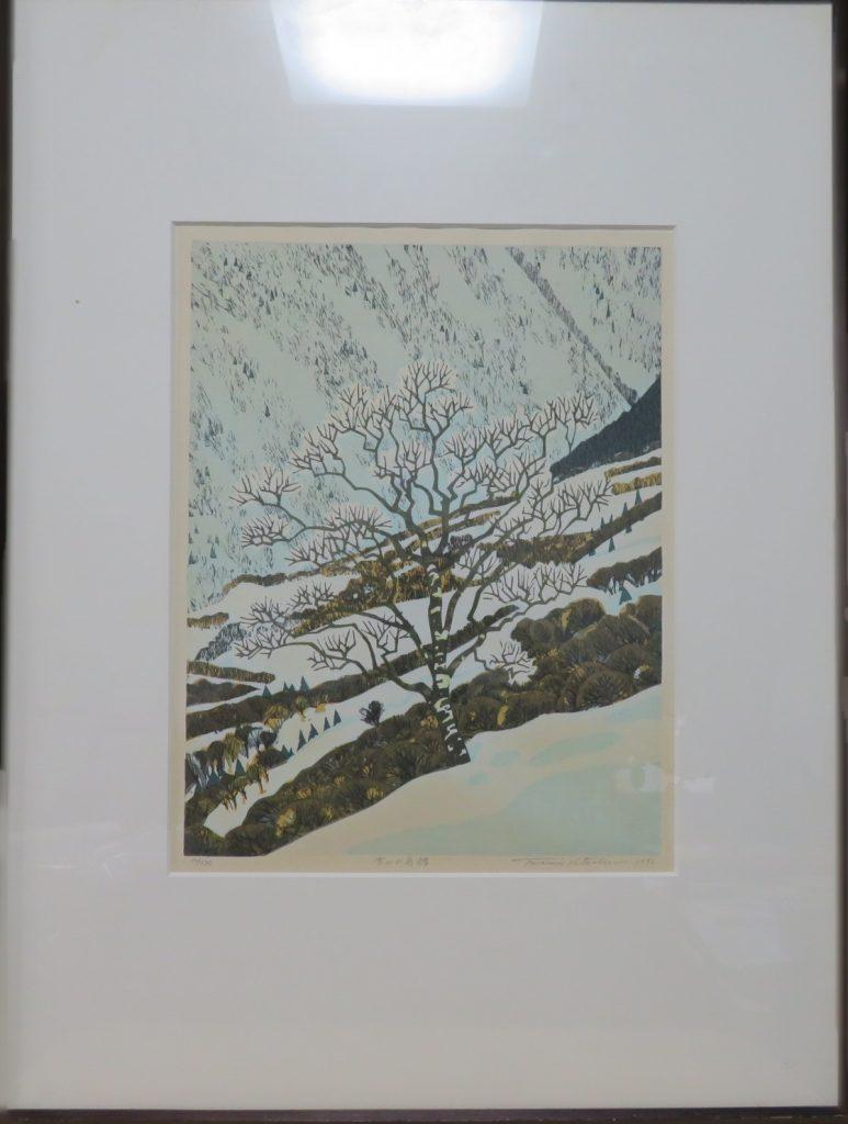 【版画(木版)】北岡文雄  「雪山の岳樺」を買取り致しました。