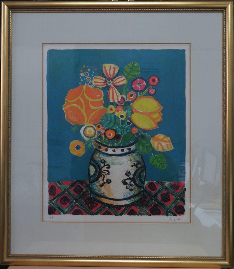 【版画(リトグラフ)】ポール・アイズピリ「青い背景の花」を買取致しました。
