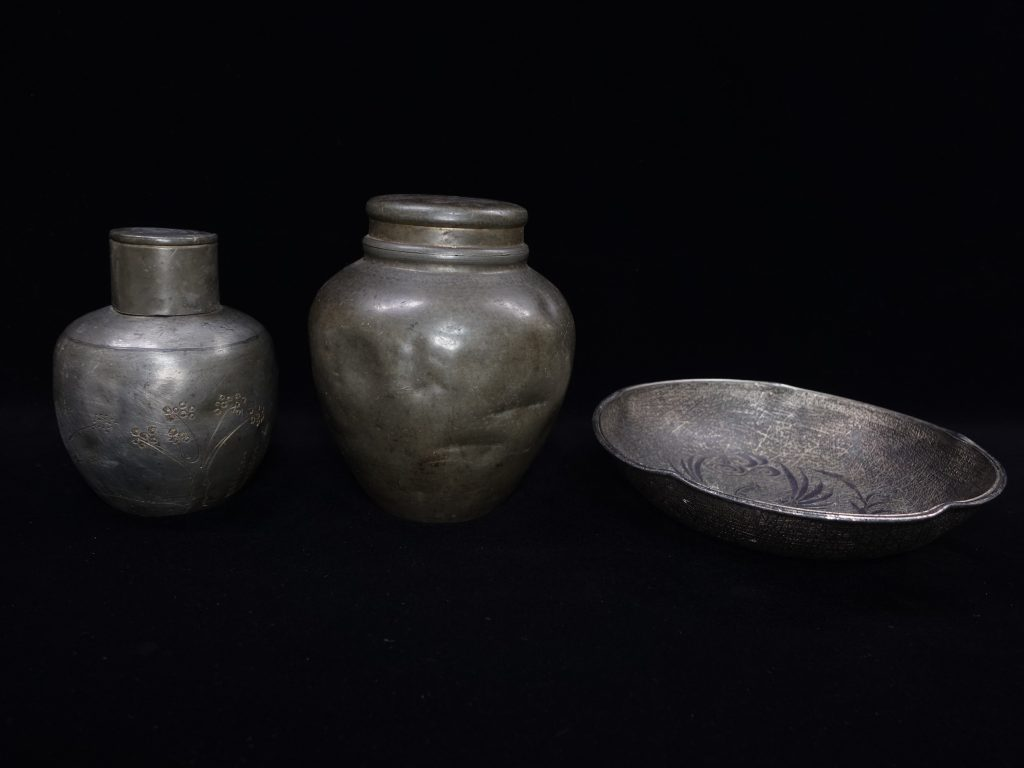 【金工品】天元號造 古錫製煎茶道具を買取致しました。