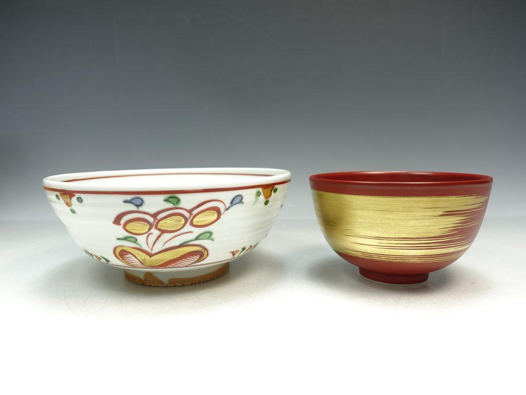 【茶道具】久世久宝「金襴手刷目茶碗・赤絵菓子鉢」を買取致しました。