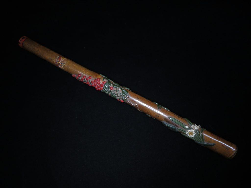 【骨董品・竹製品】鯉城政廣「南天之仙絵 香筒」を買取致しました。
