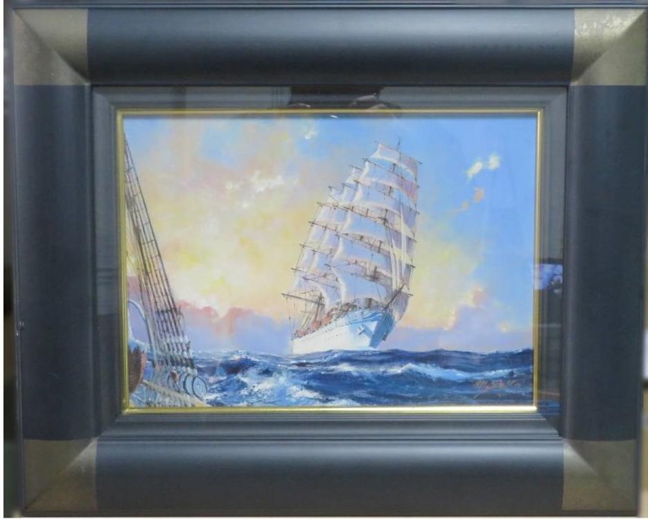 【油彩画(日本)】勢古宗昭 「暁の海をゆく」を買取り致しました。