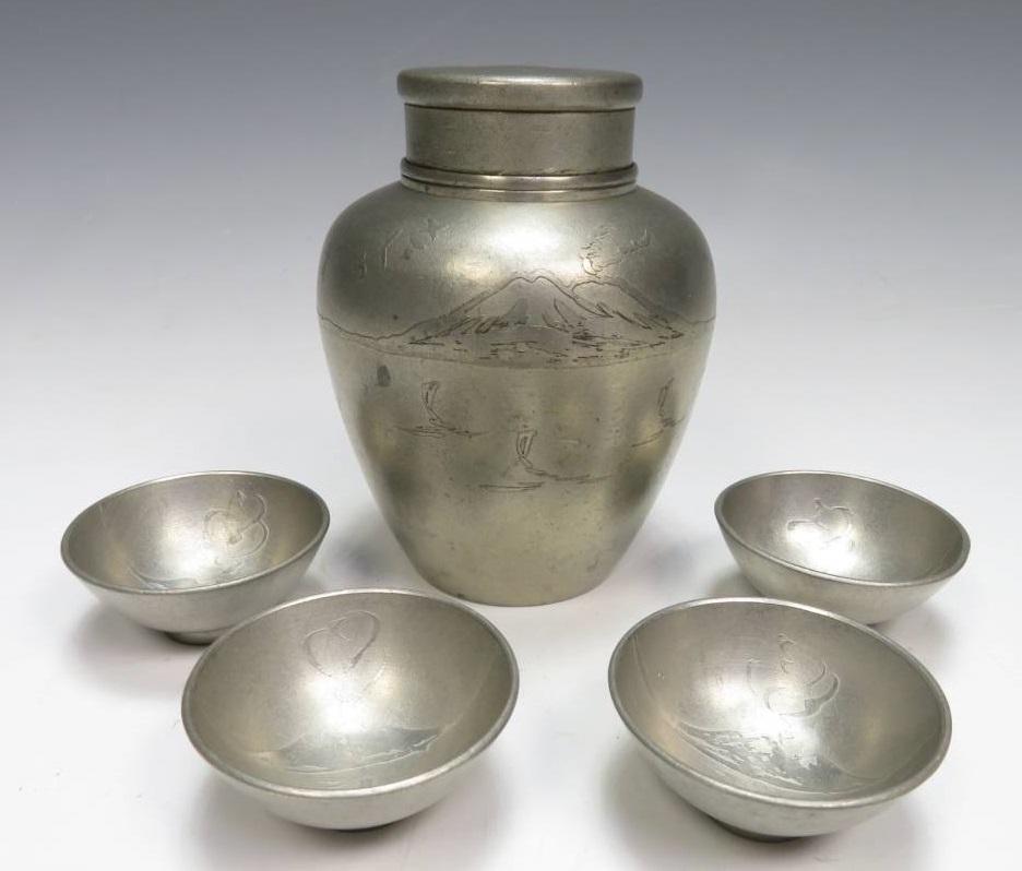 【金工品・錫製品】大辻朝日堂「桜島図薩摩錫器」を買取致しました。