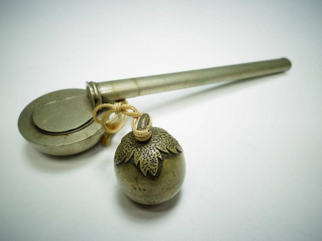 【硯・書道具】「柿堤柄杓矢立」を買取り致しました。