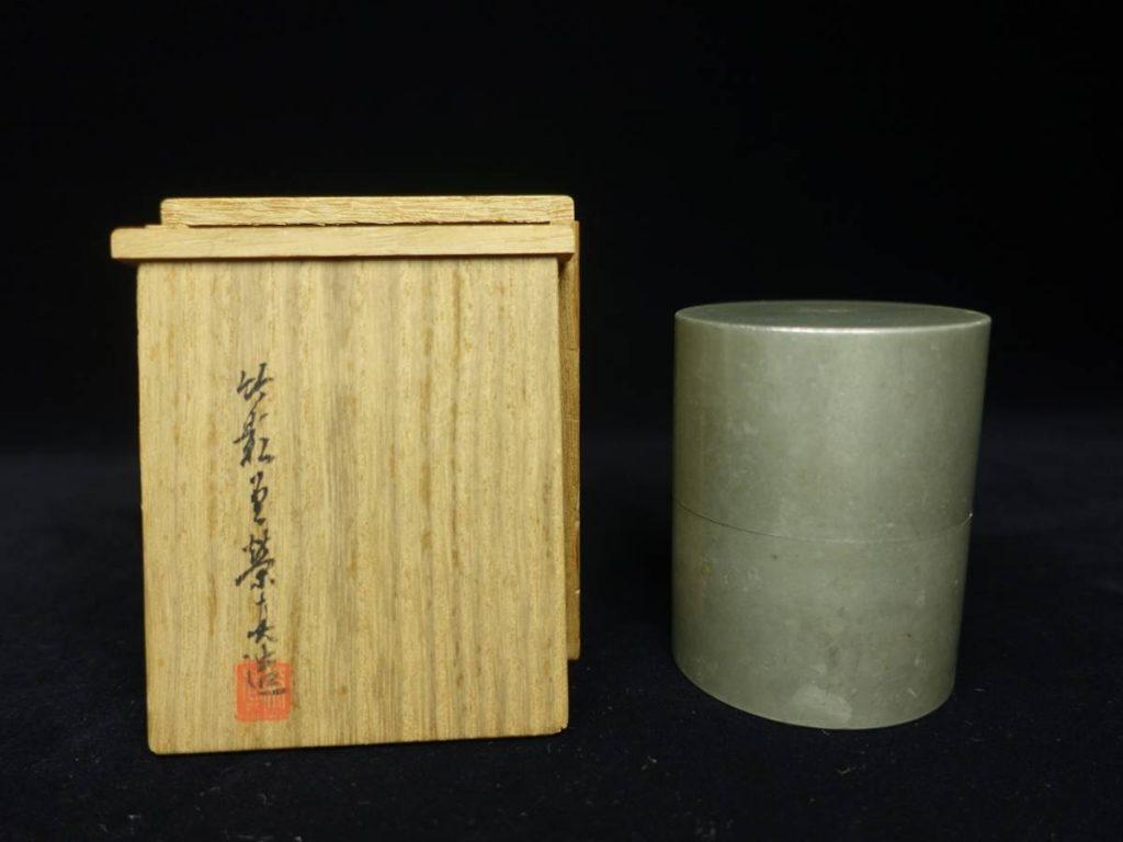 【金工品】竹影堂「純錫茶筒」を買取致しました。