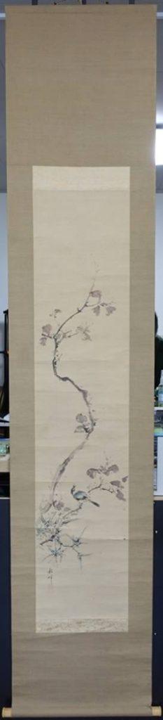 【掛軸】岡本秋暉 「秋景 花鳥図」を買取致しました。