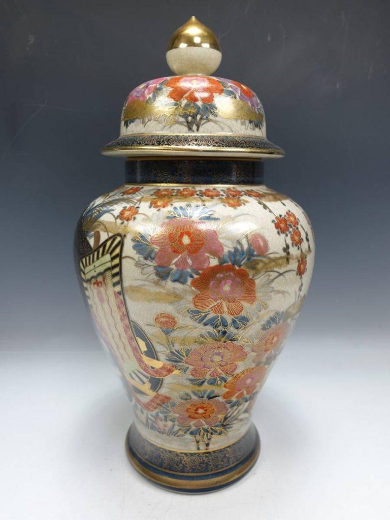 【作家物 磁器】光山「御所車金彩花々図薩摩飾壺」を買取り致しました。