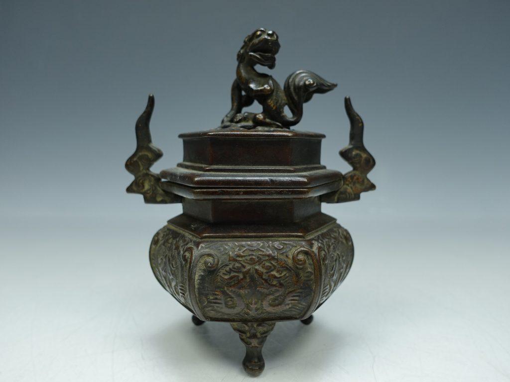 【香炉】無銘「銅製獅子香炉」を買取り致しました。