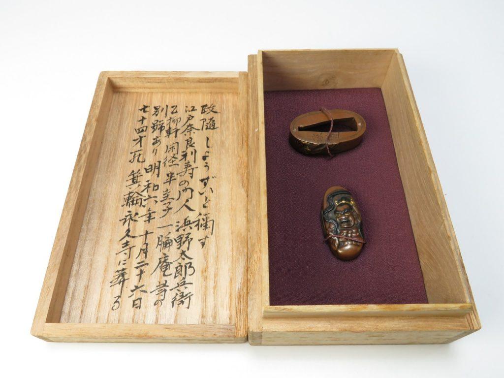 【刀装具】政隨作 「素銅金象嵌金剛力士阿形図縁頭」を買取致しました。