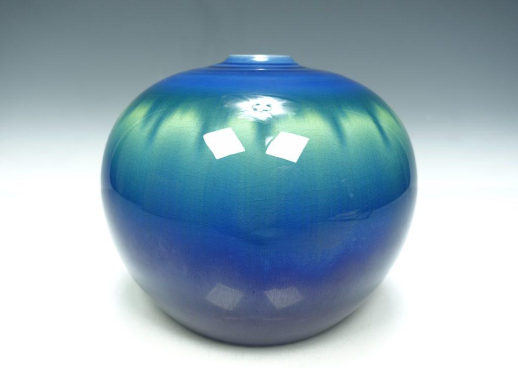 【人間国宝】三代 徳田八十吉「碧明燿彩壷」を買取致しました。