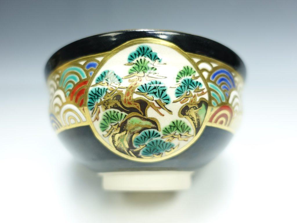 【茶碗】真葛香斎「鵬雲斎書付・黒釉松海波紋茶碗」を買取り致しました。