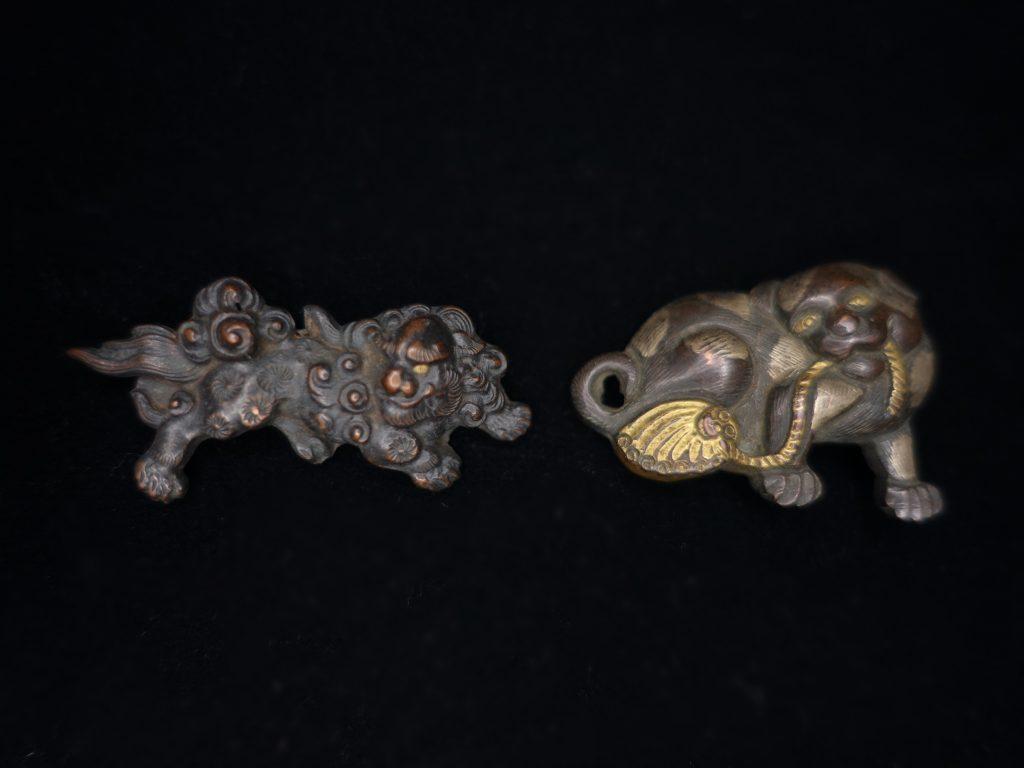 【刀装具】「獅子狛犬象嵌目貫」を買取り致しました。