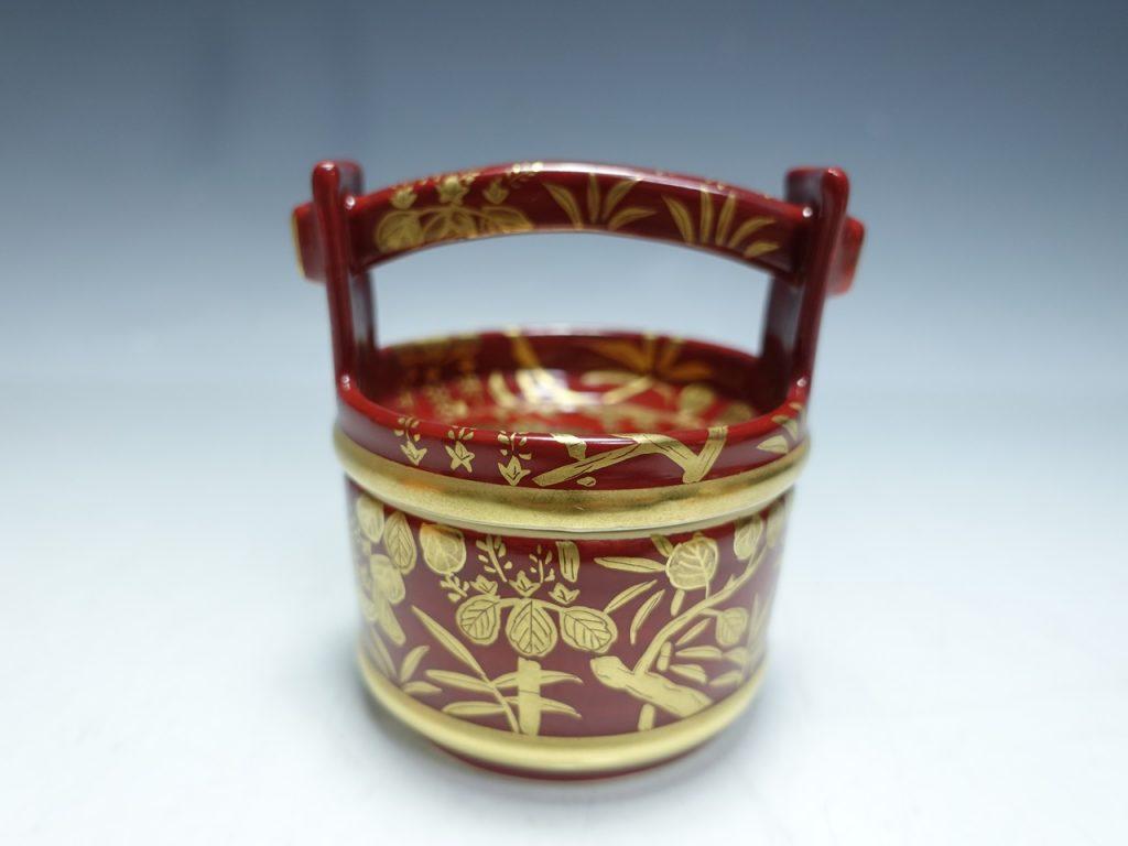 【茶道具 その他】橋本永豊「 金襴手桐竹文手桶茶器」を買取り致しました。