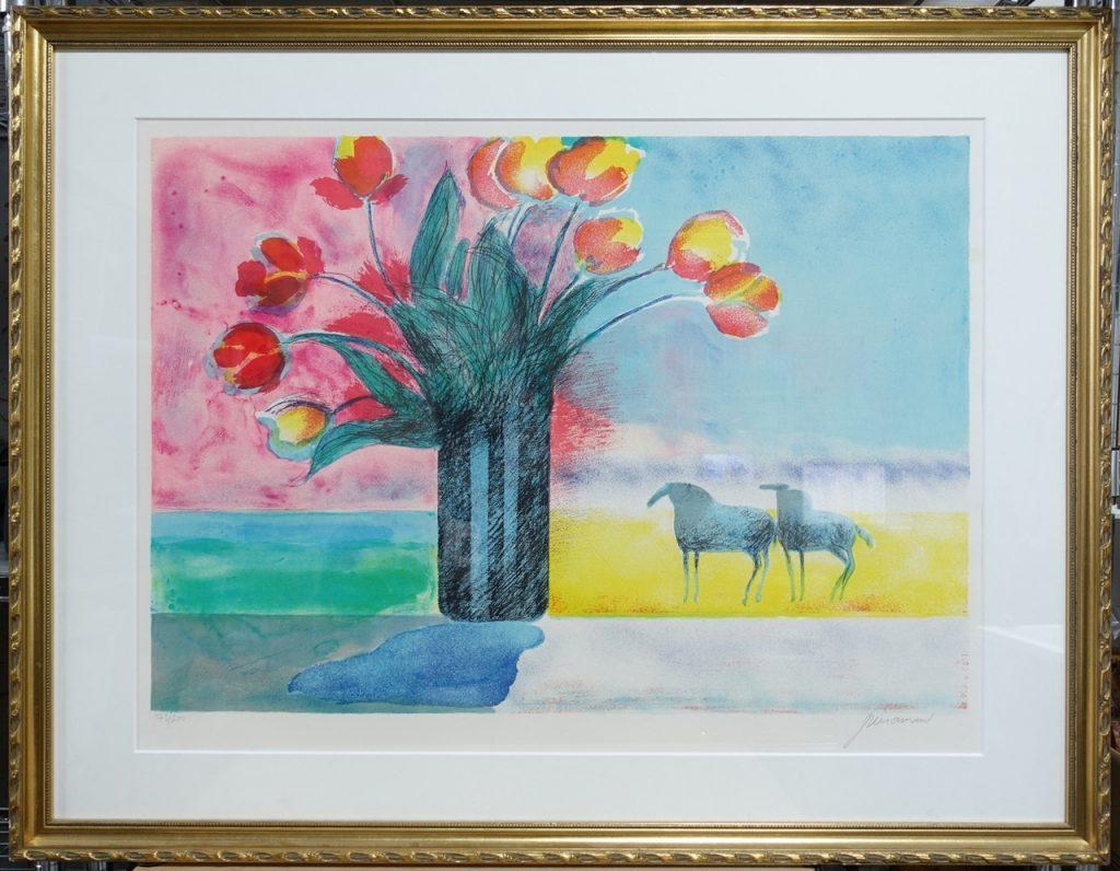 【版画】ポール・ギアマン「花と馬(リトグラフ)」を買取致しました。