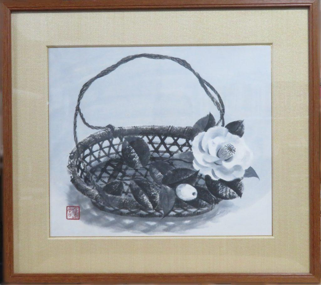 【日本画】穐月明「籠の椿」を買取り致しました。