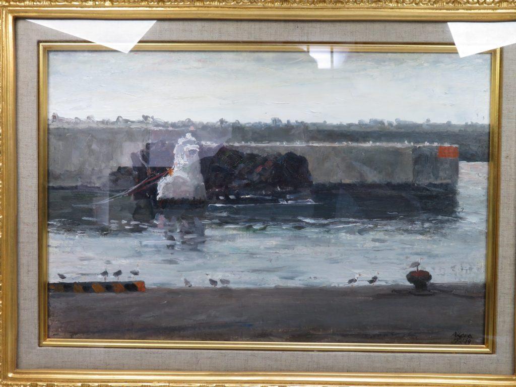 【油彩画(日本)】赤穴宏「海猫の鳴く堤防」を買取り致しました。