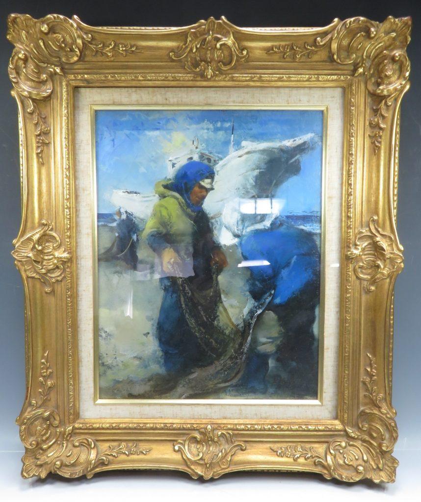 【油彩画(日本)】工藤和男「魚運ぶ漁港」を買取り致しました。