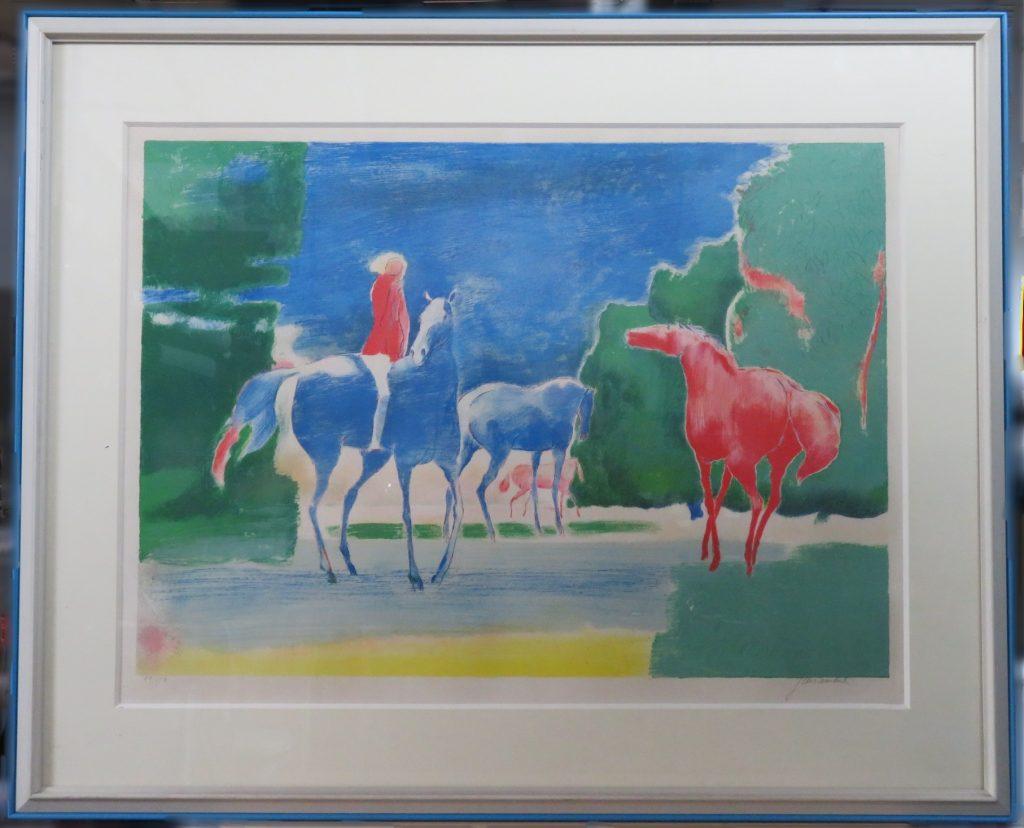 【版画(リトグラフ)】ポール・ギアマン「水辺の牧場」を買取致しました。