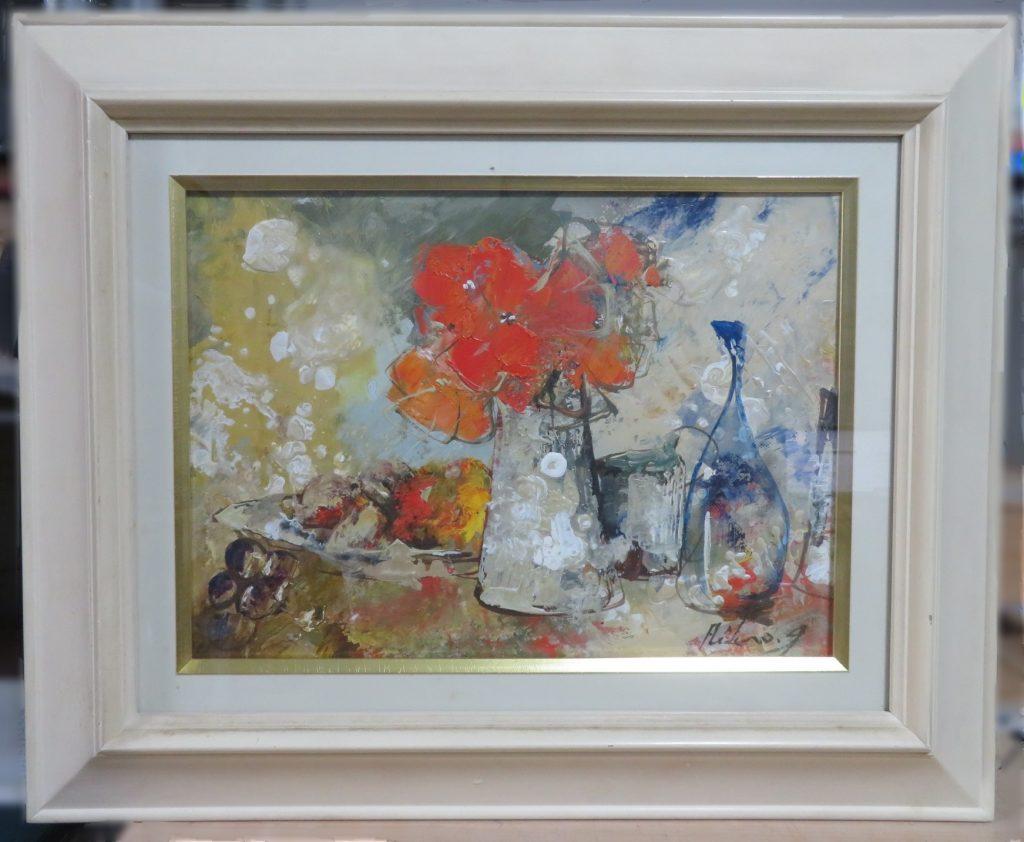 【油彩画(日本)】池田秀郎「赤い花」を買取り致しました。