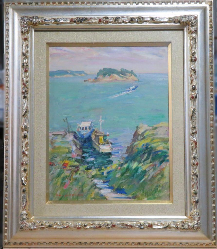 【油彩画(日本)】奥田憲三「静かな海」を買取ri致しました。