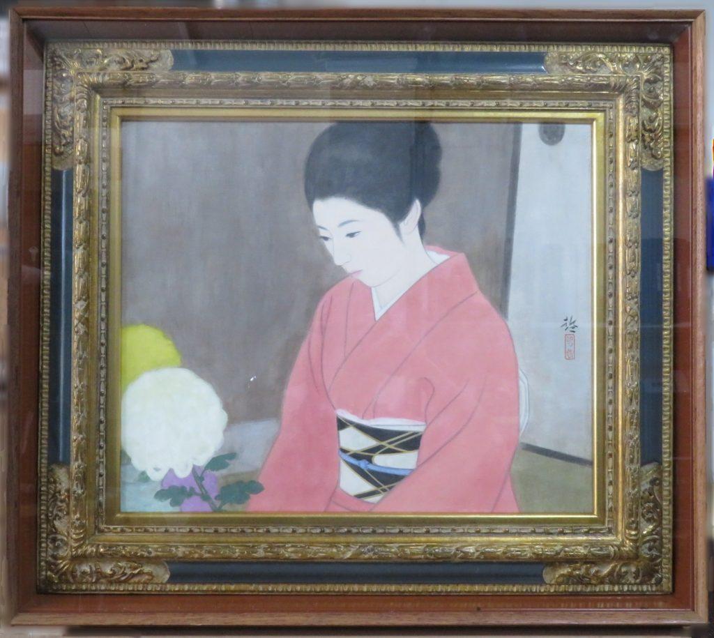 【日本画】勝田 哲「菊を活ける」を買取り致しました。