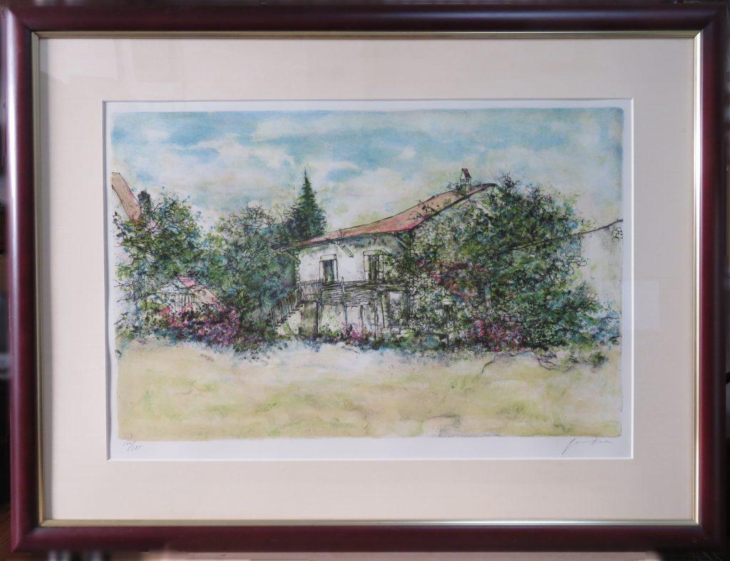 【版画(リトグラフ)】ベルナール・ガントナー「花に囲まれた家」を買取致しました。